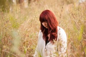 Sandra auf der Wiese in Beelitz